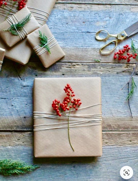 Gift wrapped with string and berries