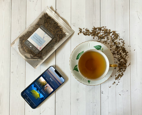 Tulsi loose leaf tea and Breethe meditation app for anxiety relief