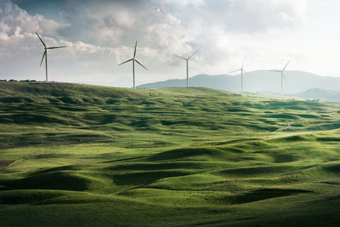 Wind turbines in a hilly landscape