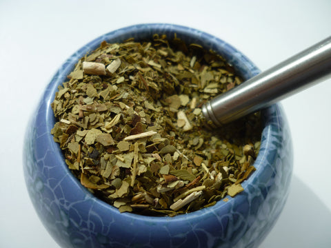 Yerba Mate drink with a bombilla straw