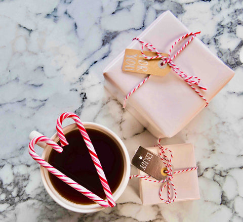 Tea with candy and presents