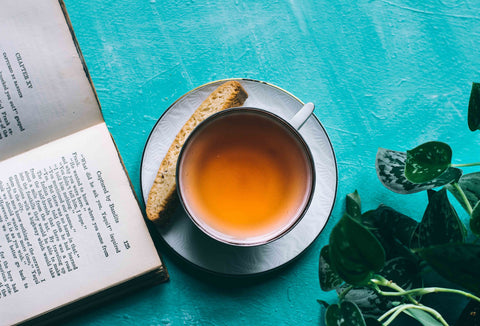 Teacup with book and plant