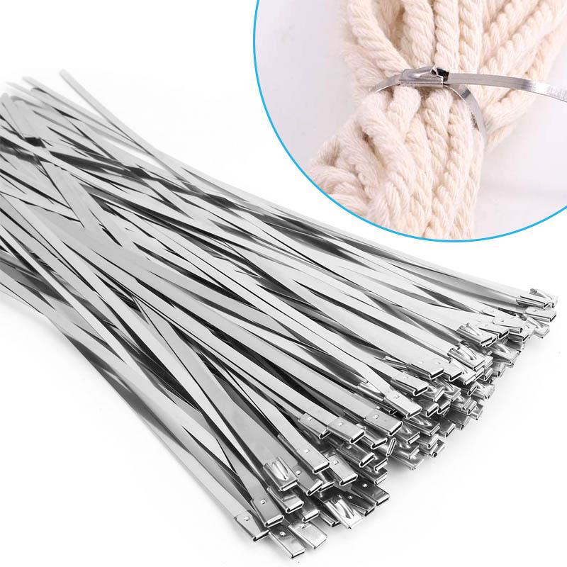Multi-Purpose Locking Cable Metal Zip Ties (100 PCs)