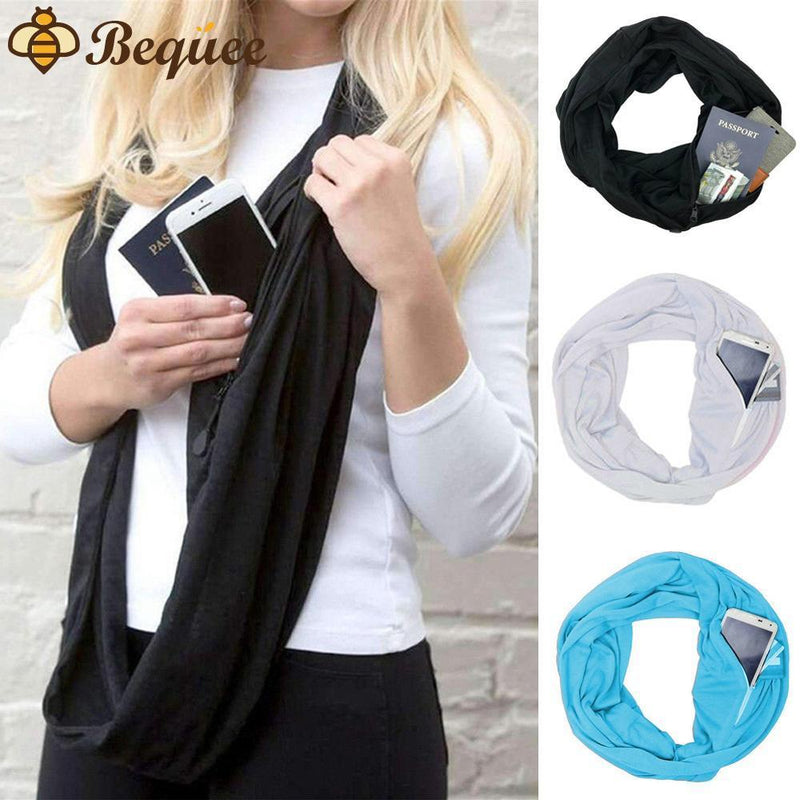 Bequee Winter Infinite Scarf With Zipped Pocket