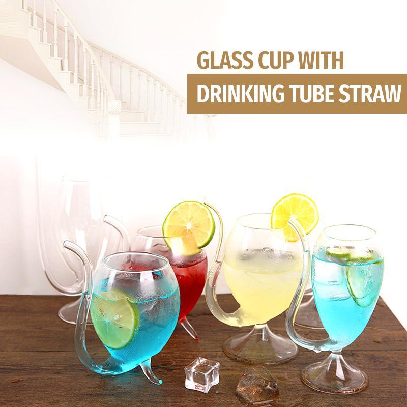 Creative Glass Cup With Drinking Tube Straw