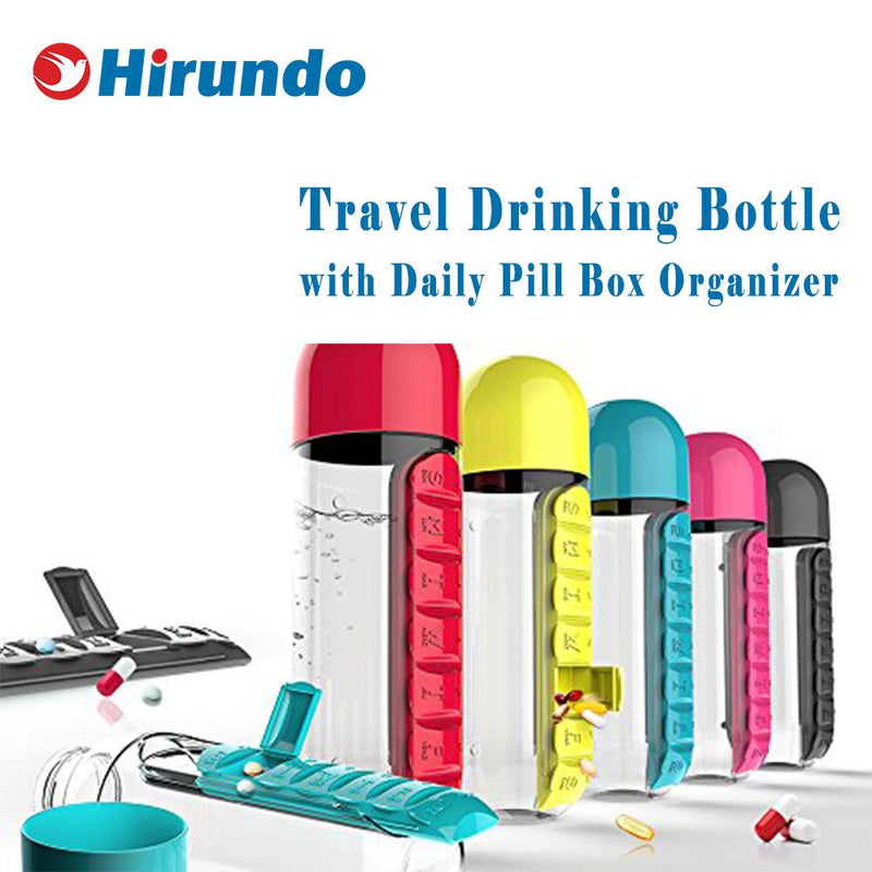 Hirundo Travel Drinking Bottle with Daily Pill Box Organizer
