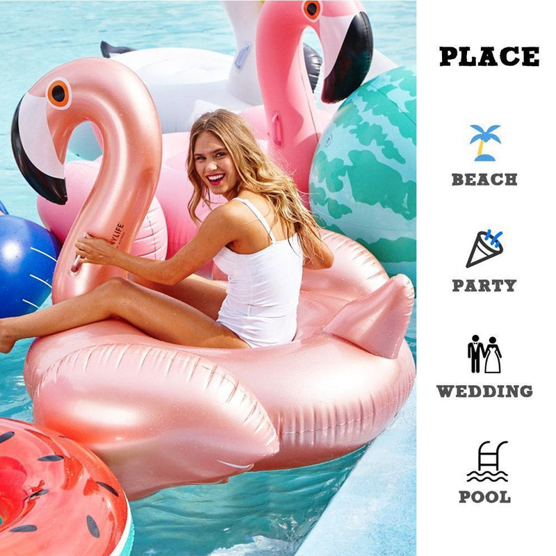 Inflatable Flamingo Pool Float, Rose Gold
