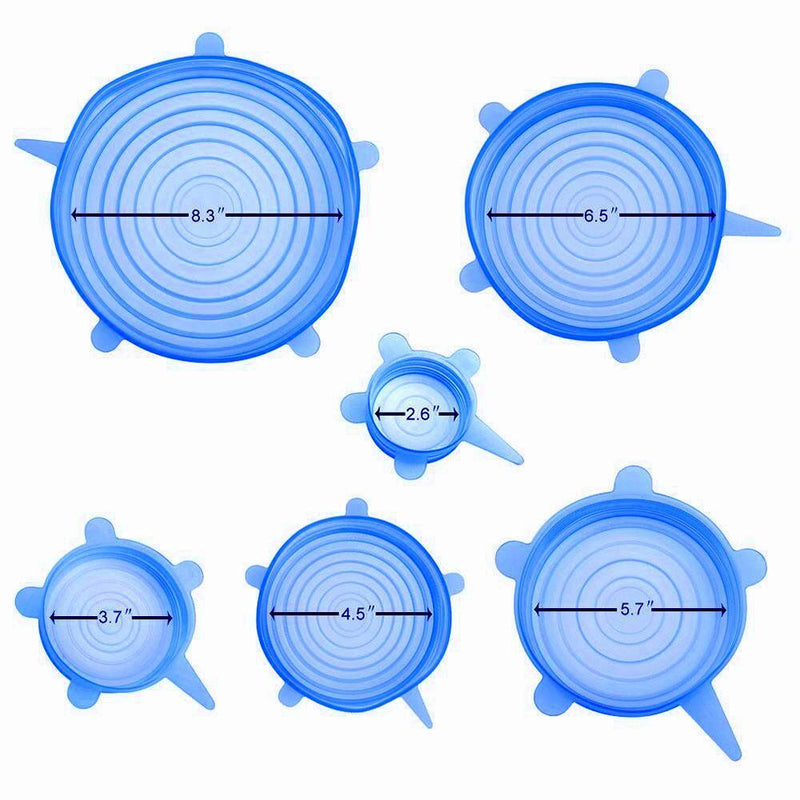 Hirundo Silicone Stretch Lids Set 12 PCS (Blue) , Reusable Durable & Expandable Lids