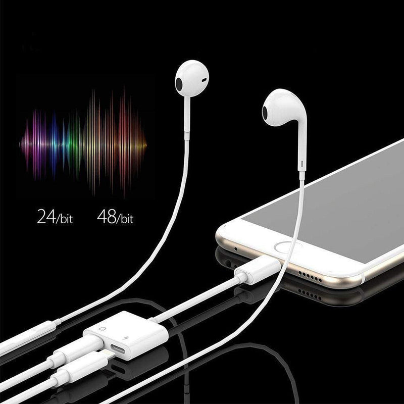 2 in 1 Lightning Headphone Audio Jack Adapter for iphone 7/8 / X / 7 plus / 8 plus (Support iOS 11)-2 Packs/White