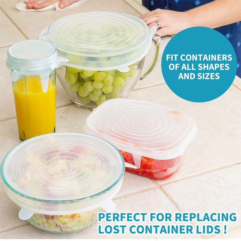 6 PCS Stretchable Food Silicone Lid
