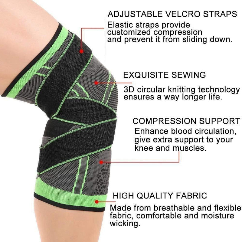 Hirundo 3D Design Knee Brace with Adjustable Strap for Pain Relief (Single)
