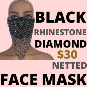 BLACK RHINESTONE DIAMOND NETTED FACE MASK