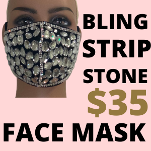 BLING STRIP STONE FACE MASK
