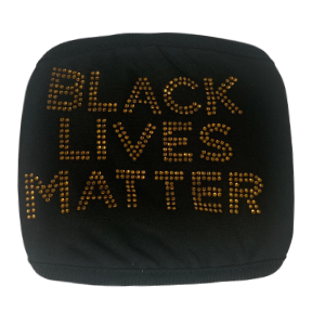 BLACK & GOLD STUDDED BLACK LIVES MATTER FACE MASK