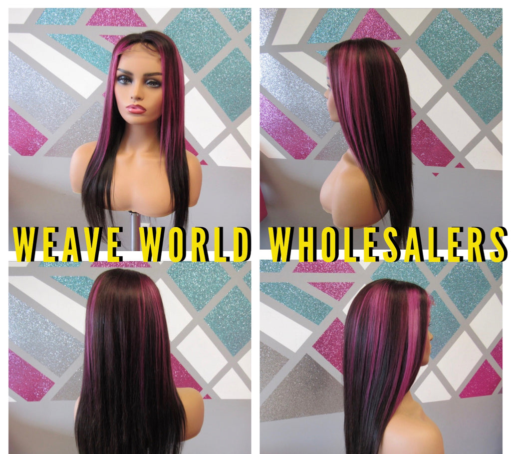 FUCHSIA SILKY STRAIGHT LACE CLOSURE WIG