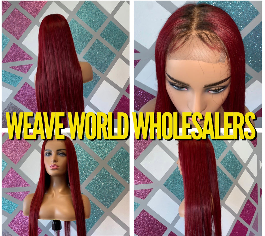 RED SILKY STRAIGHT LACE CLOSURE WIG