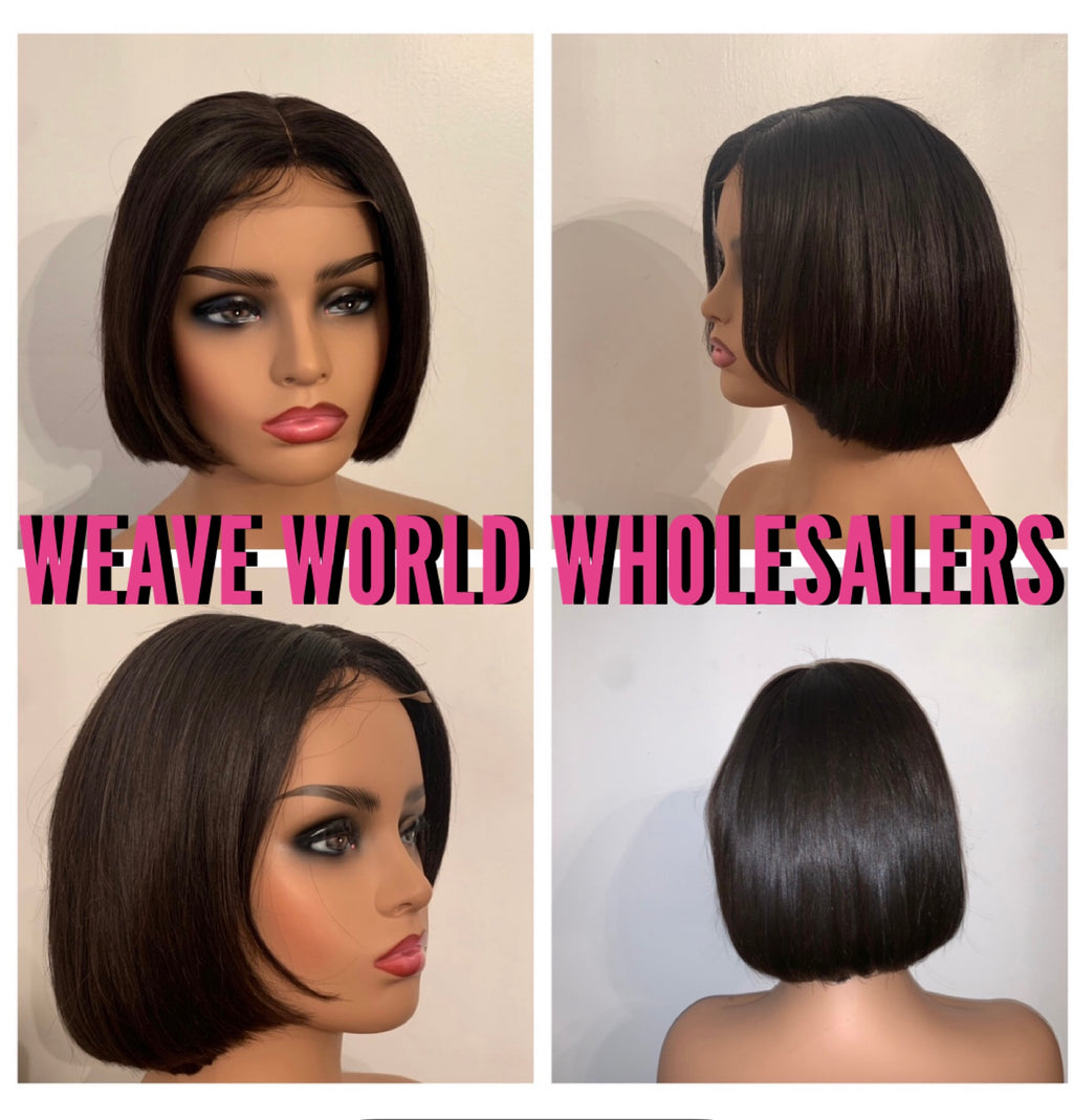 SILKY STRAIGHT SHORT BOB LACE CLOSURE WIG