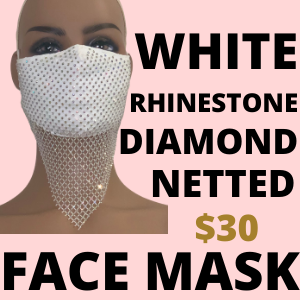 WHITE RHINESTONE NETTED FACE MASK