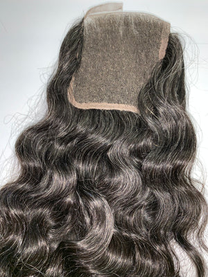 Natural Grey Wavy Salt & Pepper Hair Closure