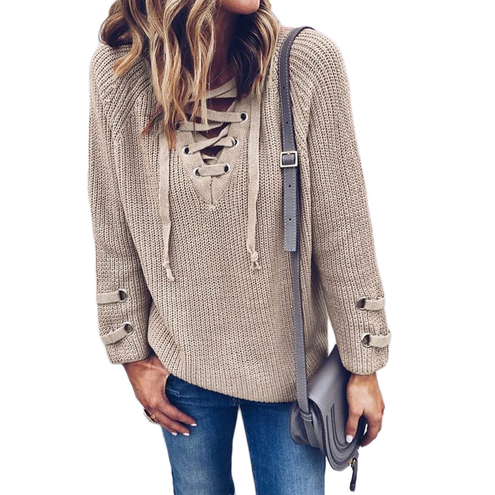 Striped Bandage Lace-Up Jumper