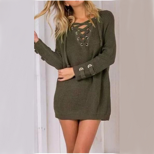Lace-Up Knitted Jumper