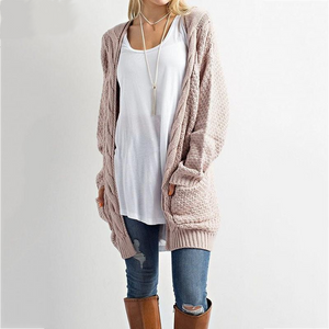 Open Stitch Pockets Cardigan Sweater