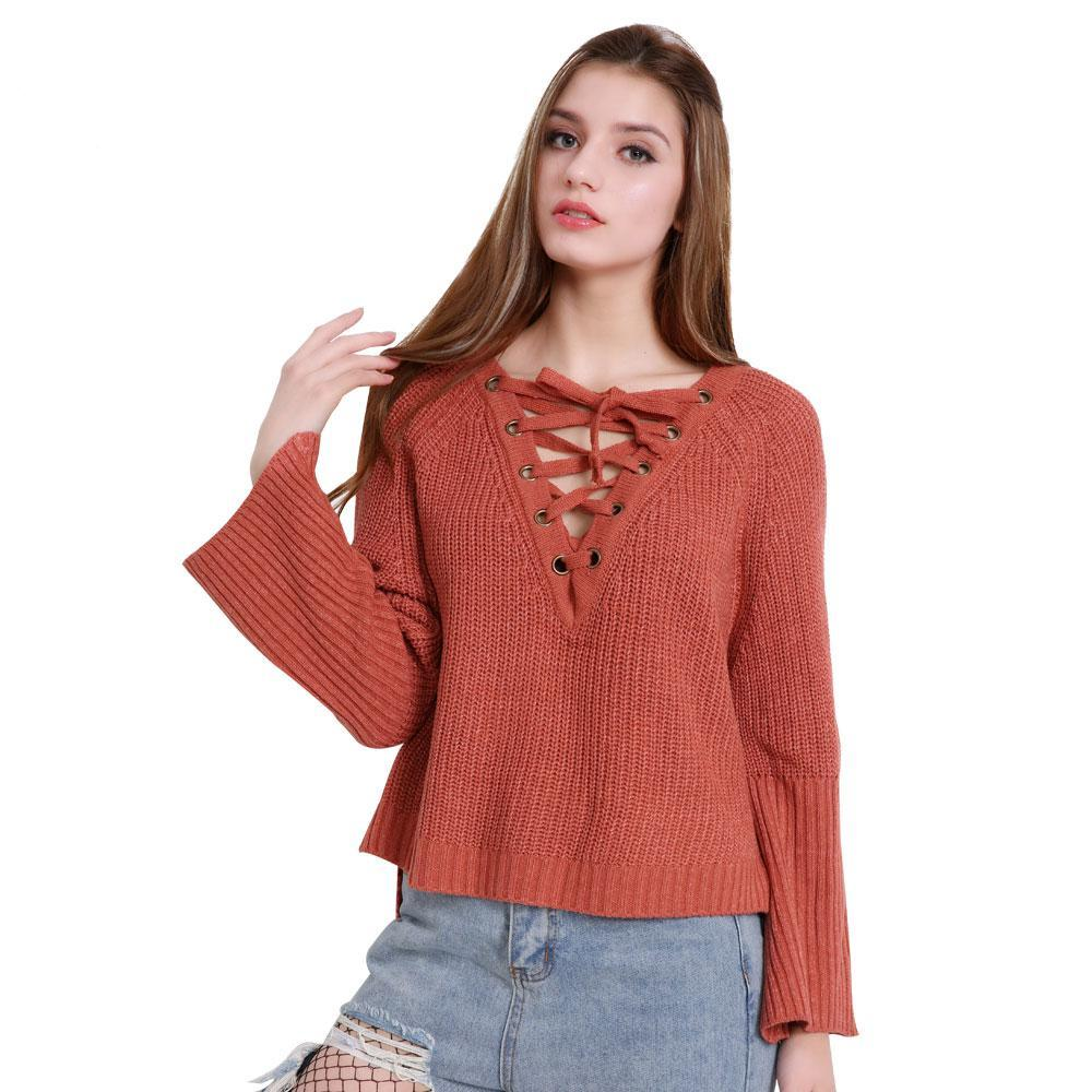 Lace Up Drawstring Flared Cuff Sweater