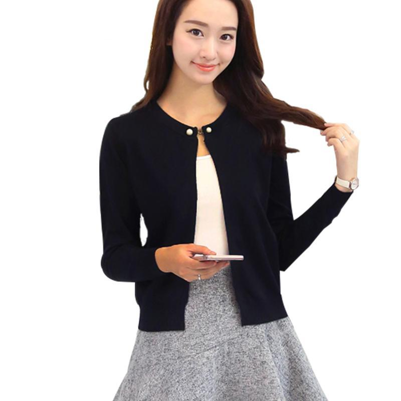 Spring O-Neck Single Button Cardigan