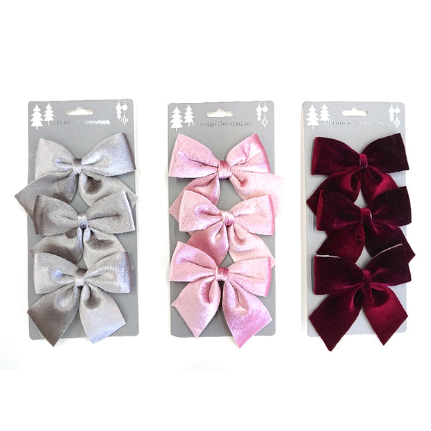 Velvet bow set of 3pcs