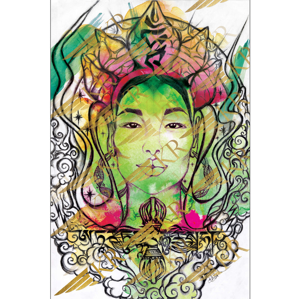 Green Tara Keycode 3 Altar Card Color Artwork by Kaia Ra | The Sophia Code