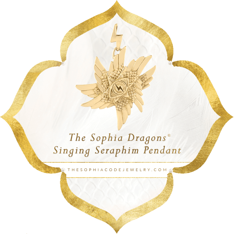 Sophia Dragons Singing Seraphim Pendant in Brass | Kaia Ra Jewelry | The Sophia Code
