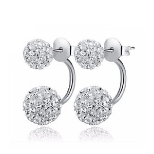 Double Crystal Ball Earrings