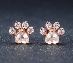 Paw Print Stud Earrings - Natural Gemstone