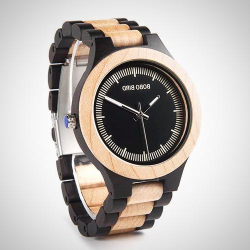 Two tone Wooden Link Strap Analog Watch