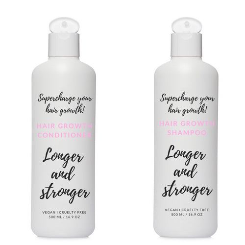 Conditioner and shampoo for longer and stronger hair.