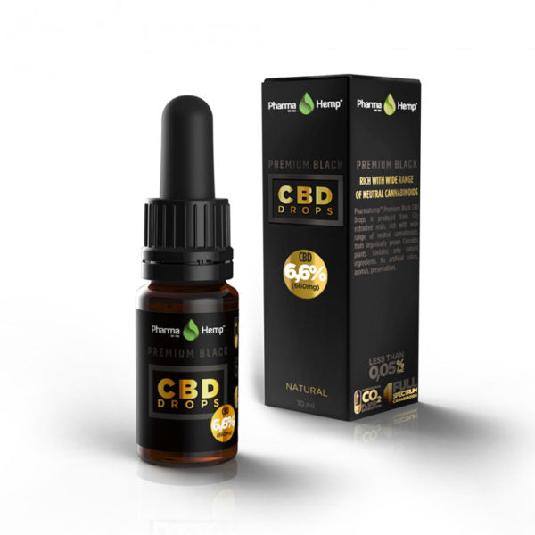 PREMIUM BLACK CBD DROPS<br /> 10ml | 6.6%