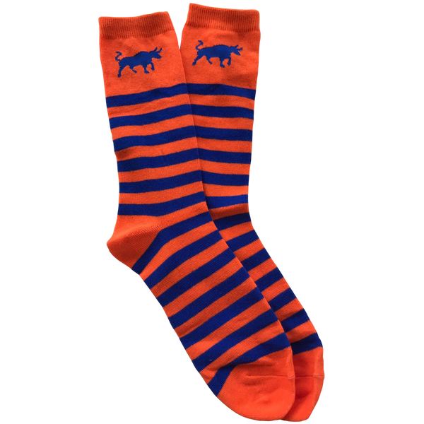 Bull Striped Socks - Orange & Blue