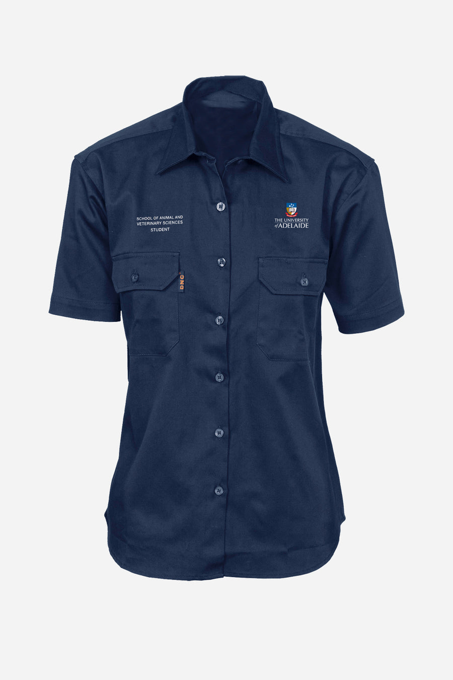 Veterinary drill shirt navy S/S women's