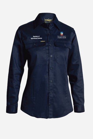 Bachelor of Agricultural Science drill shirt womens navy