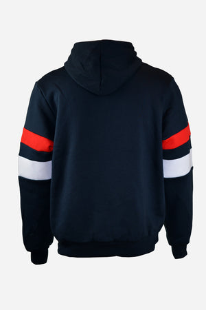 Navy Hoodie red & white panels Women's