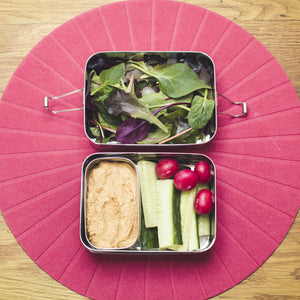 2-Tier Stainless Steel Lunch box with mini container - 3 piece set