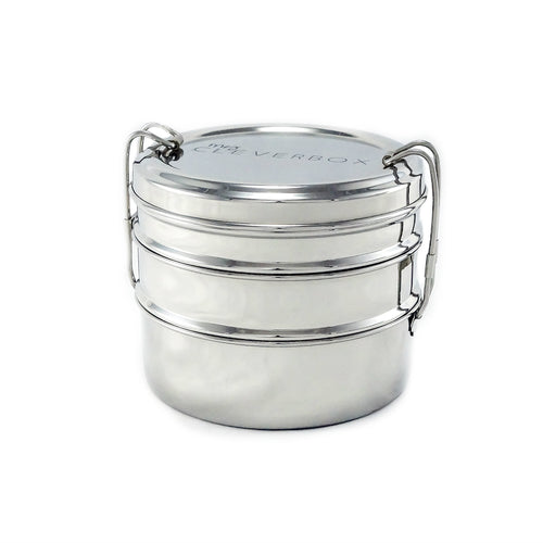 Round 3-Tier Lunch Stacker - stainless steel lunchbox tiffin style
