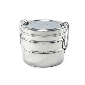 Round 3-Tier Stainless Steel Lunchbox - Tiffin Style Lunchbox