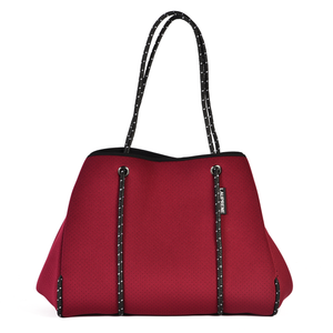 NEOPRENE TOTE BAG - BERRY RED