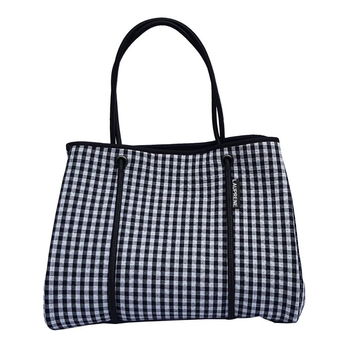 NEOPRENE TOTE BAG - GINGHAM