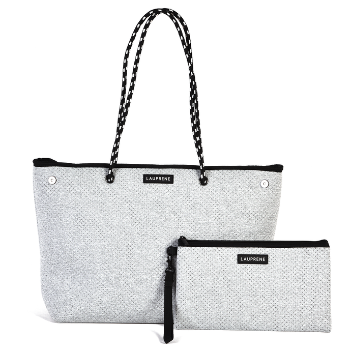 ICONIC NEOPRENE ZIPPED TOTE - LIGHT GREY