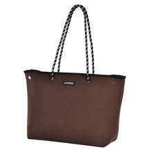 ICONIC NEOPRENE ZIPPED TOTE - MOCHA