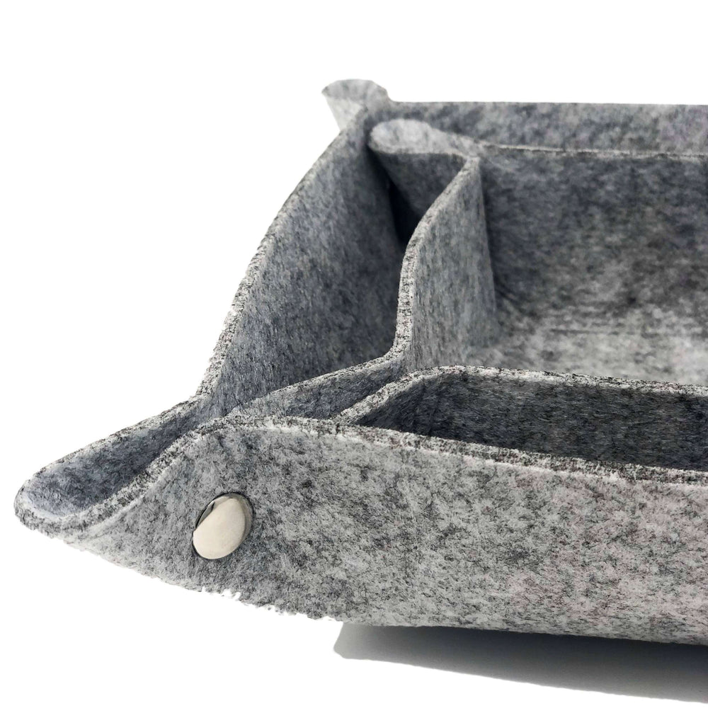 Felt Catchall Storage Tray Boxes (set of 2) - Grey