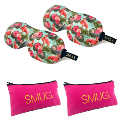 Contoured Sleep Mask Twin Pack & Pink Storage Bag Sets - Various Designs