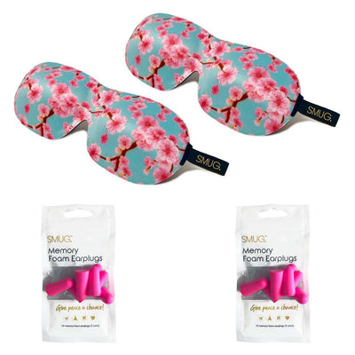 Contoured Sleep Mask Twin Pack & Pink Earplugs Sets - Various Designs